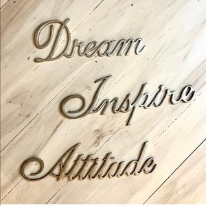 ATTITUDE, INSPIRE, DREAM Brushed Metal Artwork